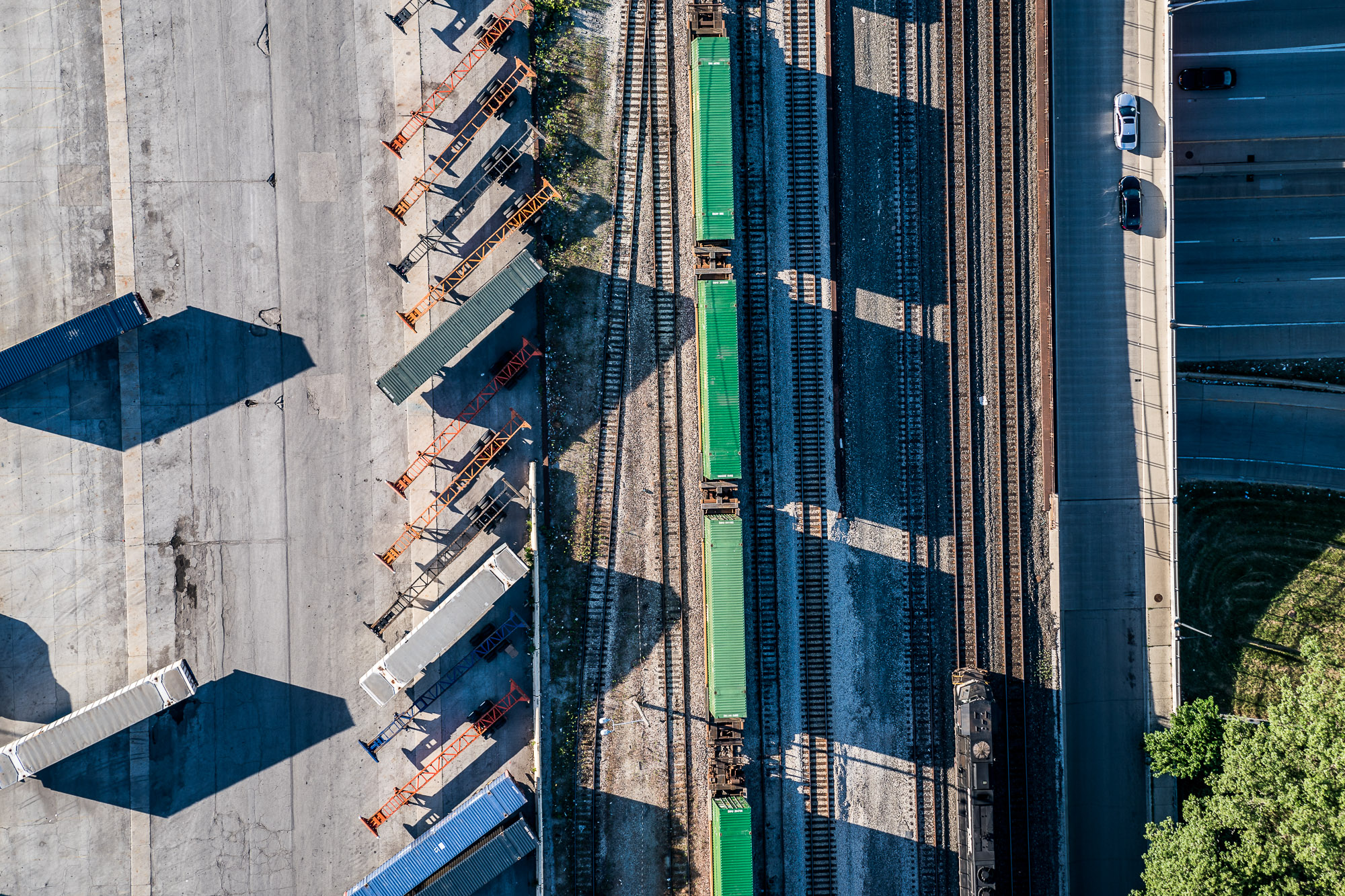 Aerial above Trains in Chicago