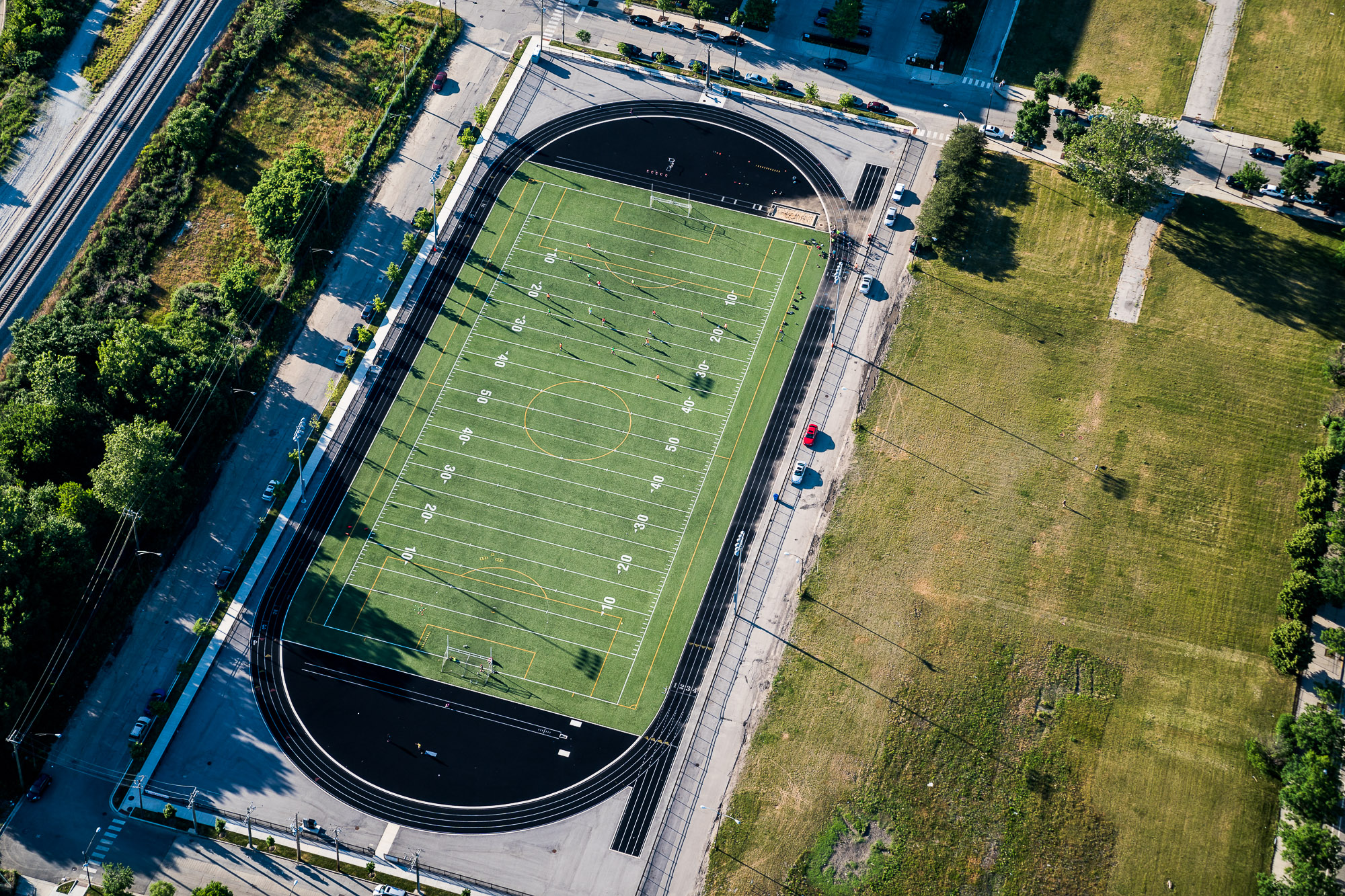 Aerial above Chicago Football Field