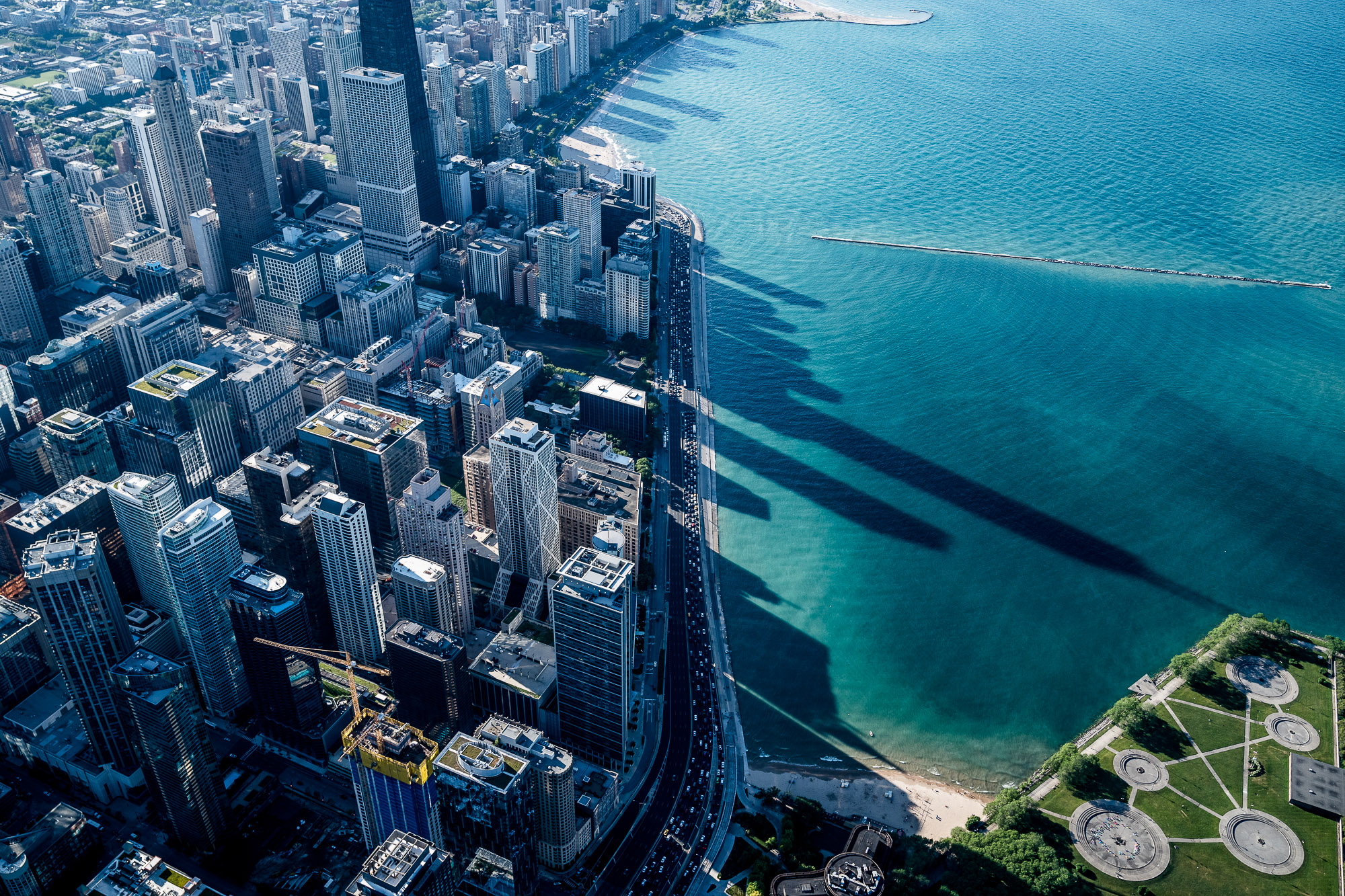 Aerial of Lake Michigan and Chicago