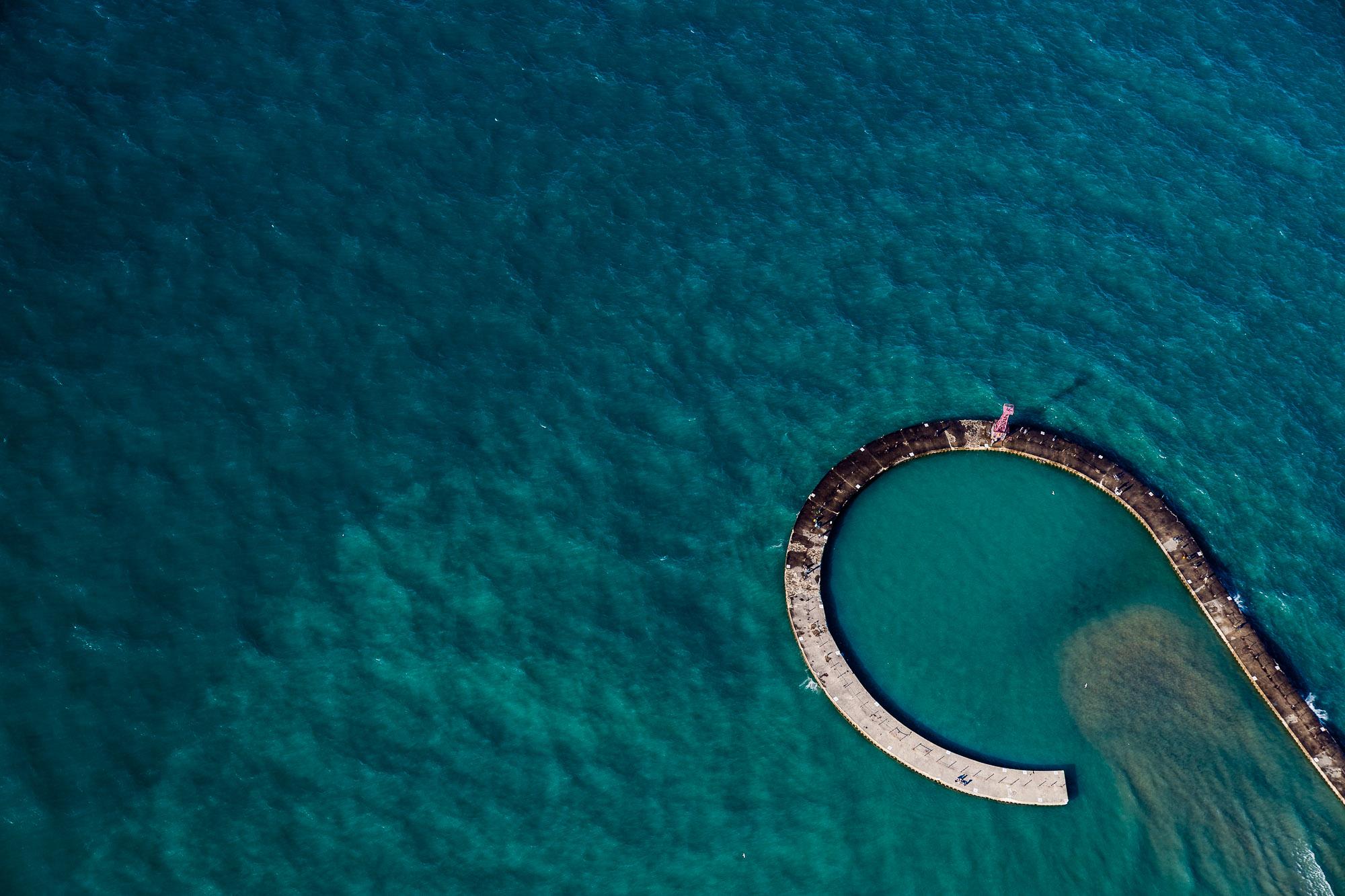 Aerial above Lake Michigan