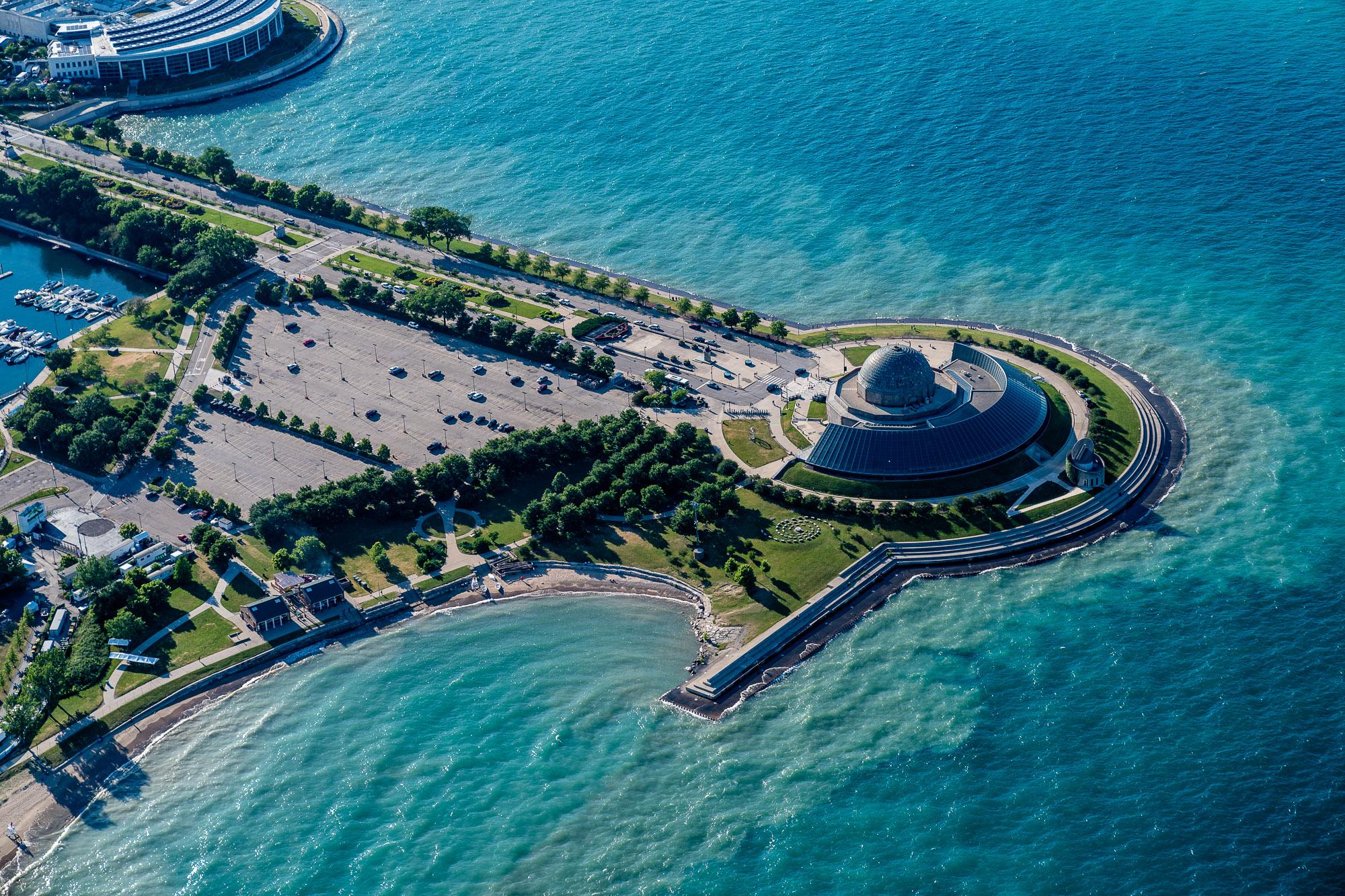 Aerial above stadium near Lake Michigan