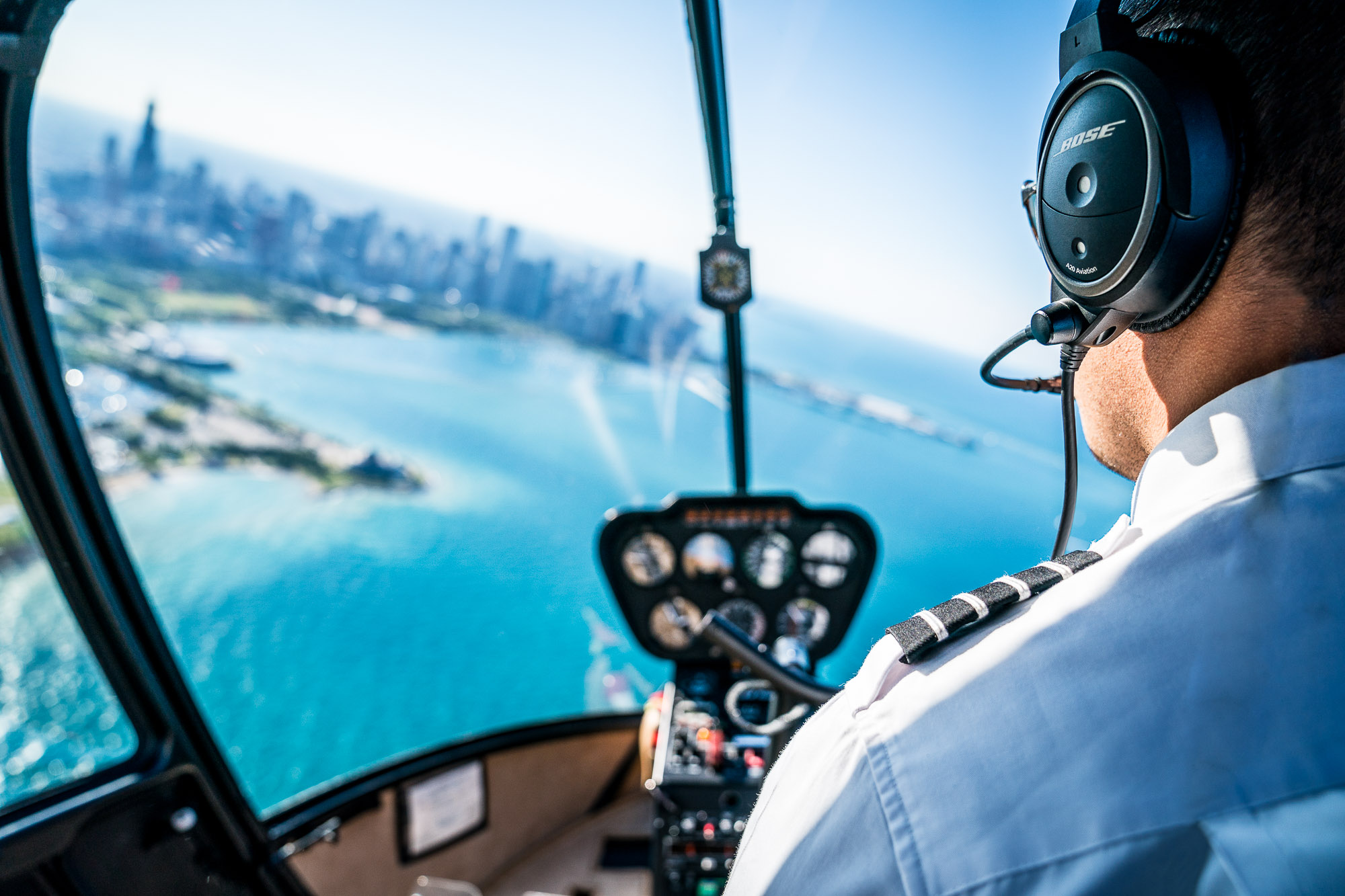 Helicopter Pilot flying over Chicago