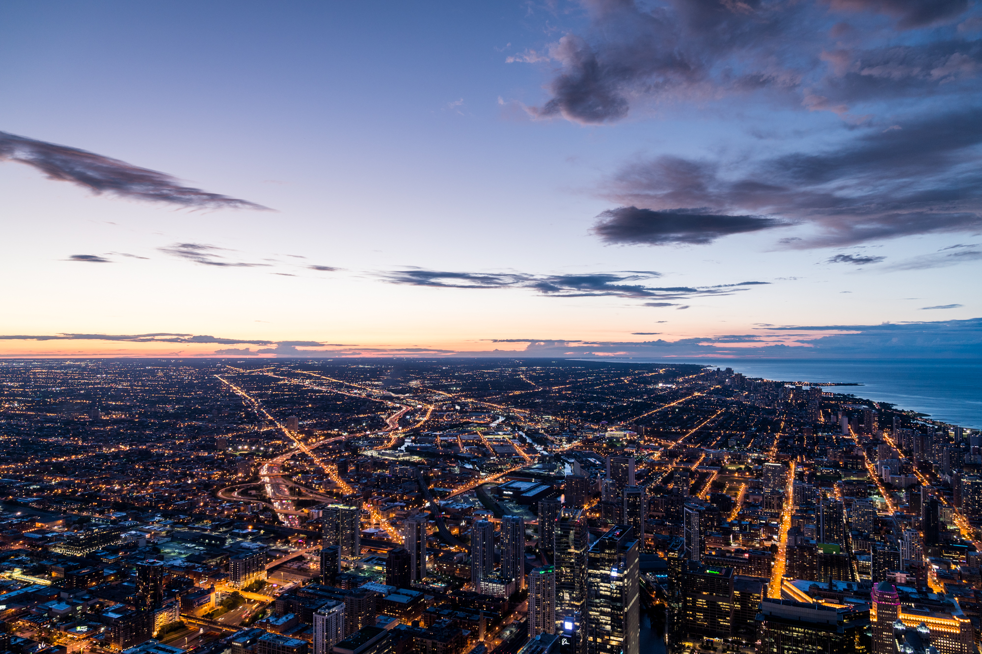 Aerial of Chicago at Sunset