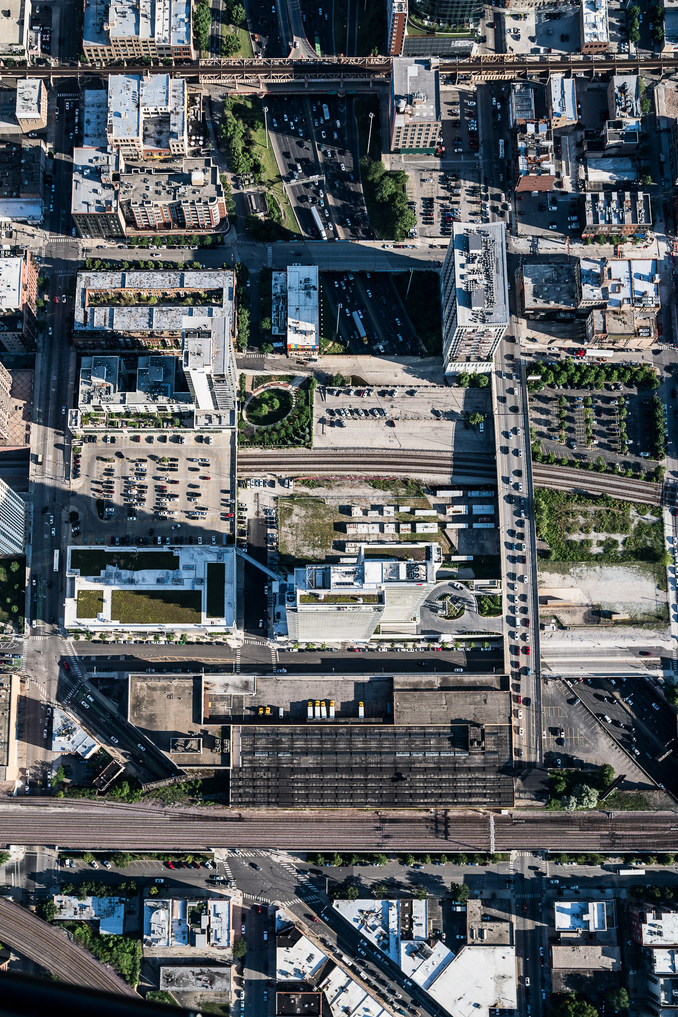 Aerial Above Chicago Buildings