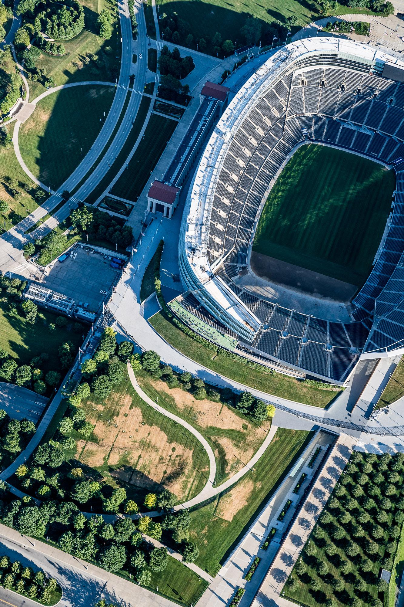 Aerial above Chicago Stadium