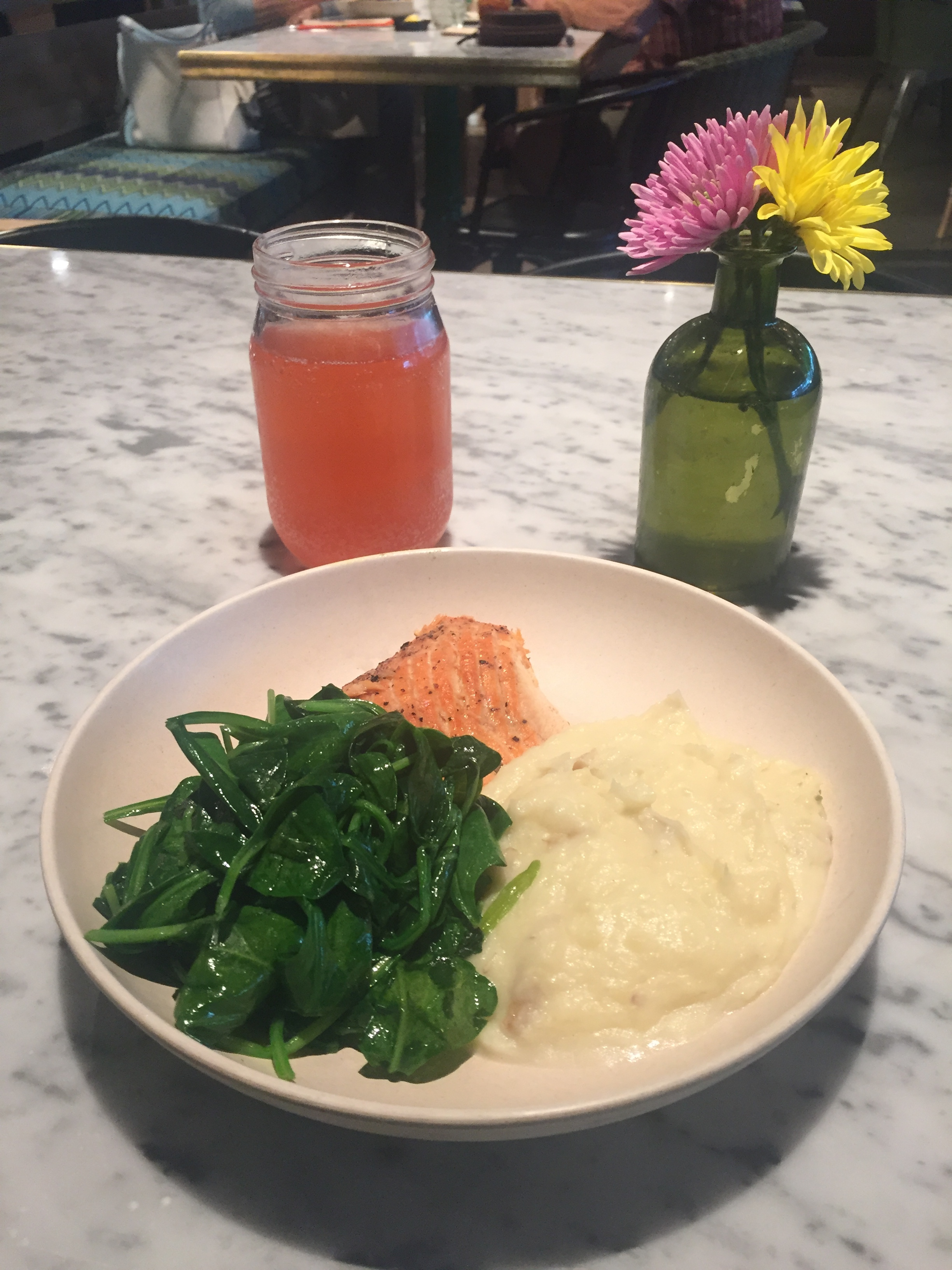 Salmon, Smashed Potatoes and Sauteed Spinach with Raspberry Rose Kombucha @FlowerChild