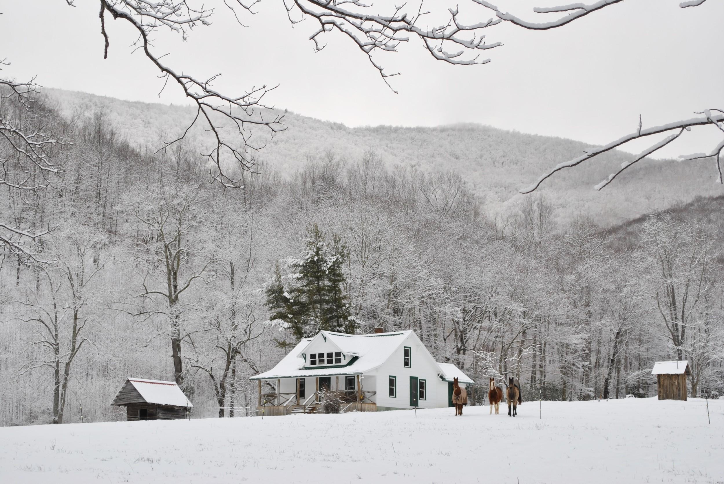 The Pioneer Homestead in Winter