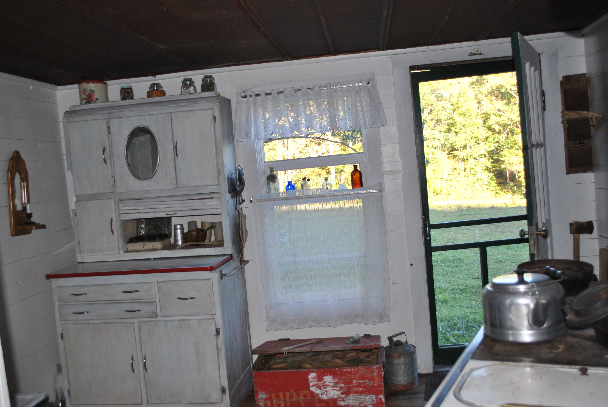 Old hossier cabinets provide storage