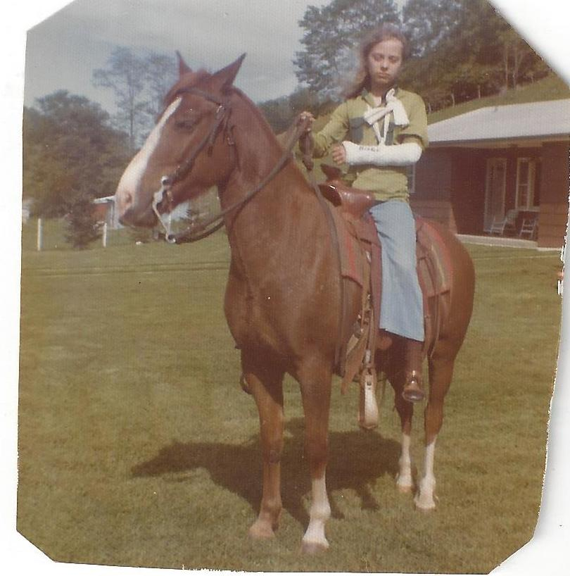 Betty on her horse, Blaze (1971)