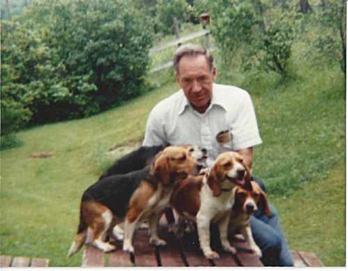 My father and his beagles