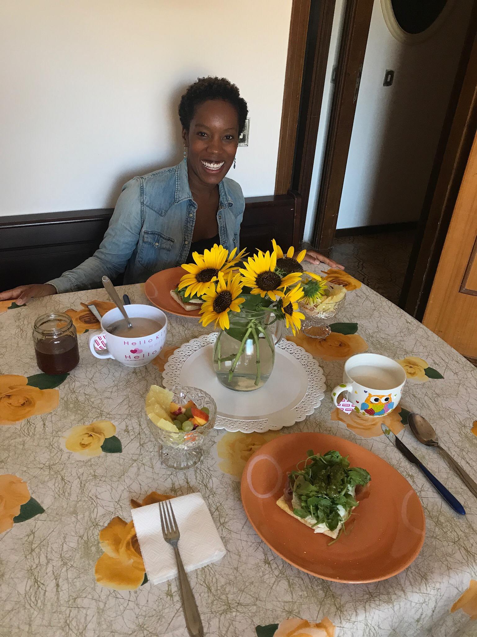 Sunflowers and birthday breakfast