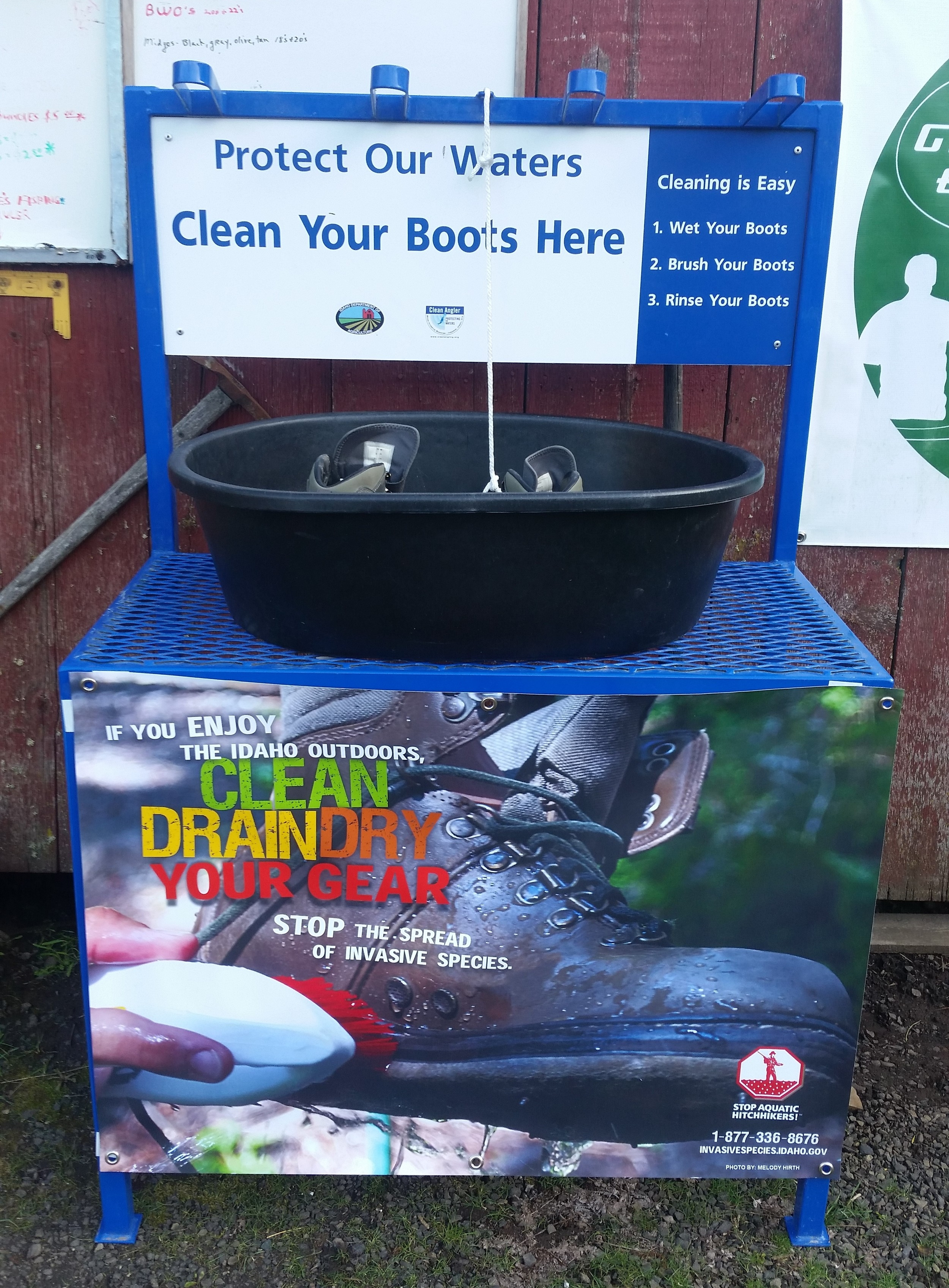 Boot wash stations are showing up at various business locations throughout Idaho and NW Region to assist in the cleaning of wading gear.