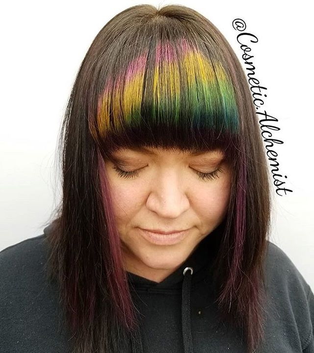 @cosmetic.alchemist sure impressed us with this #rainbow #bangs installment. Could you get more creative? Well, yes she can. #joico #believe #dream #create #hair #dreamhair #dreamy #fringe #education #pays #bringit #brunette #woman #seek #selflove #pdx #pnw #pdxstylist #pdxhair #pdxsalon
