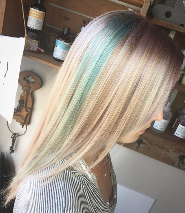 Here's one from @evettelynnaepdx who color corrected this base from an at home bleaching extravaganza to a beautiful near platinum base to deposit violet pink and sky blue tones. #beautiful #hair #pdx #pnw #pastelhair #redken #joico #blonde #color #correct #longhair #pdx #pnw #portland #oregon #loveyourself #let #professionals #bleach #donttryathome