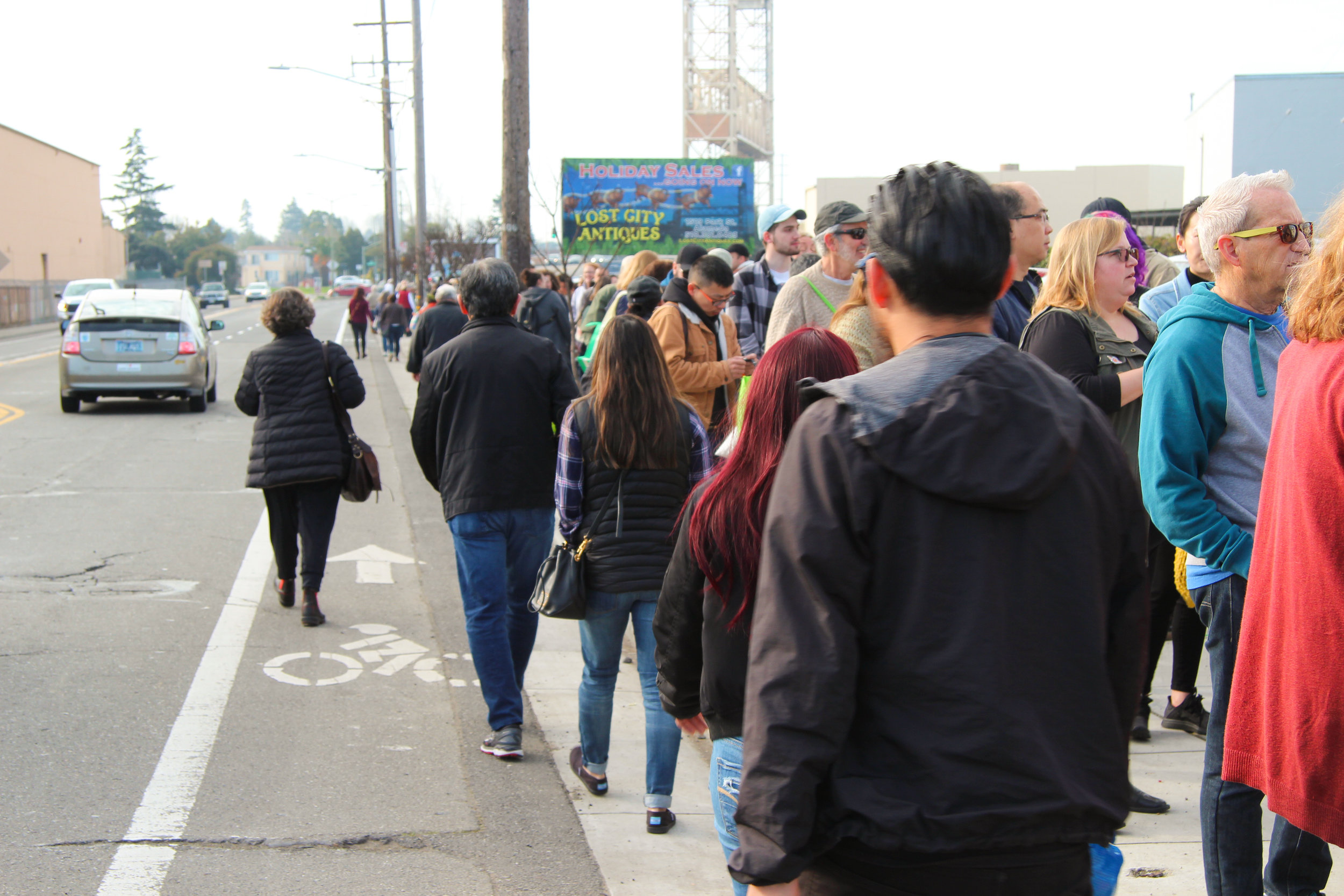 The end of the line wrapped around the block and extended down Fruitvale Avenue.