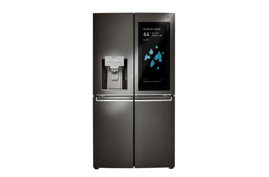 LG ThinQ Smart Refrigerator   This is one of the coolest refrigerators I think I have ever seen. You know the ones that have the glass doors so you can look inside without opening them? This is like that one but so much better! This fridge has cameras inside that allow you to view the contents of your fridge all from your phone. At the grocery store and don't remember what you need to pick up? No Worries! All you have to do is check the app and see! Not only this, there is a feature that allows you to scan the barcode on what's in your fridge. What you do is scan the barcode, enter the expiration date, and it will literally send you a text when your items are about to expire! Talk about not having to worry!