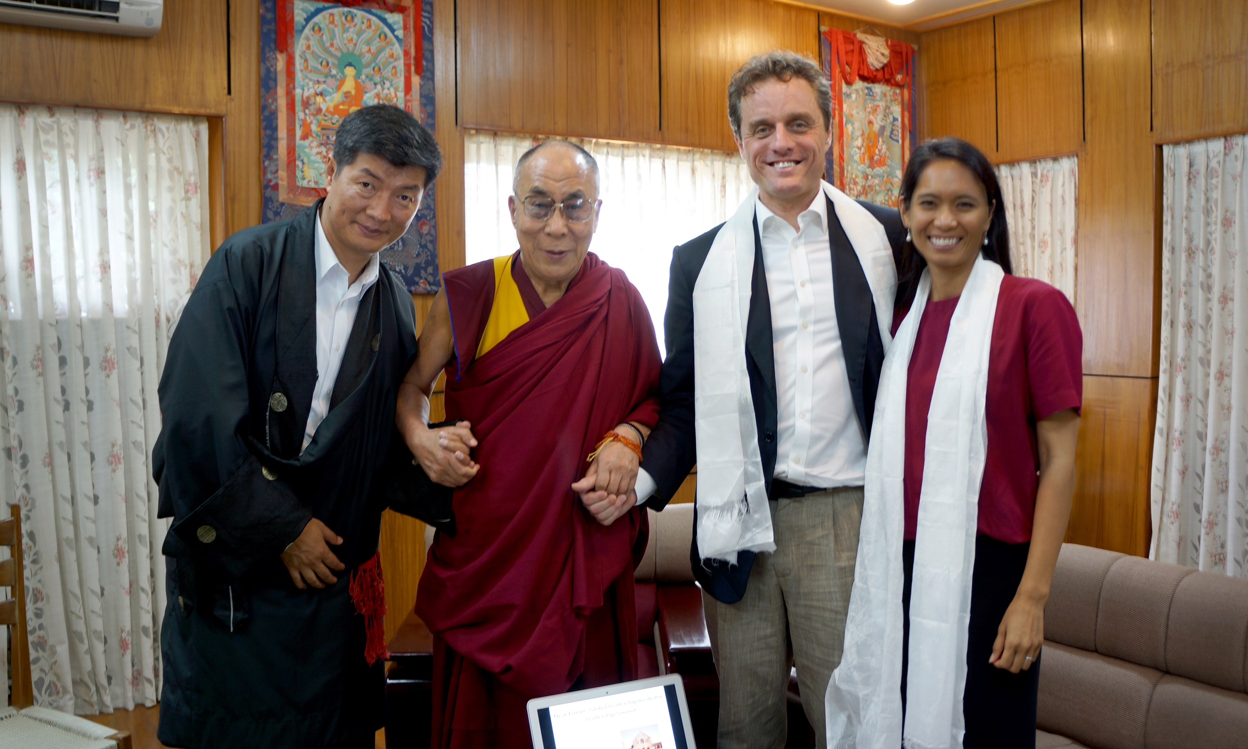 Picture of Sikyong (Prime Minister of Tibet) Lobsang Sangay and the Dalai Lama with Michael and Ana McCullough