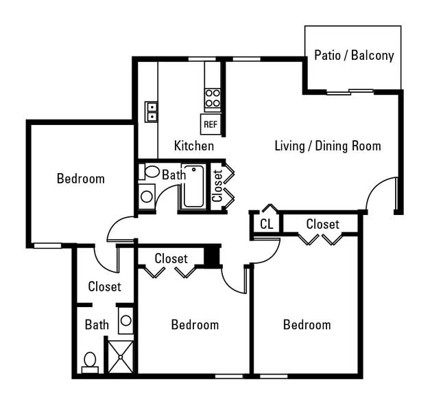 3 Bedroom   2 Bathroom   1150 SF