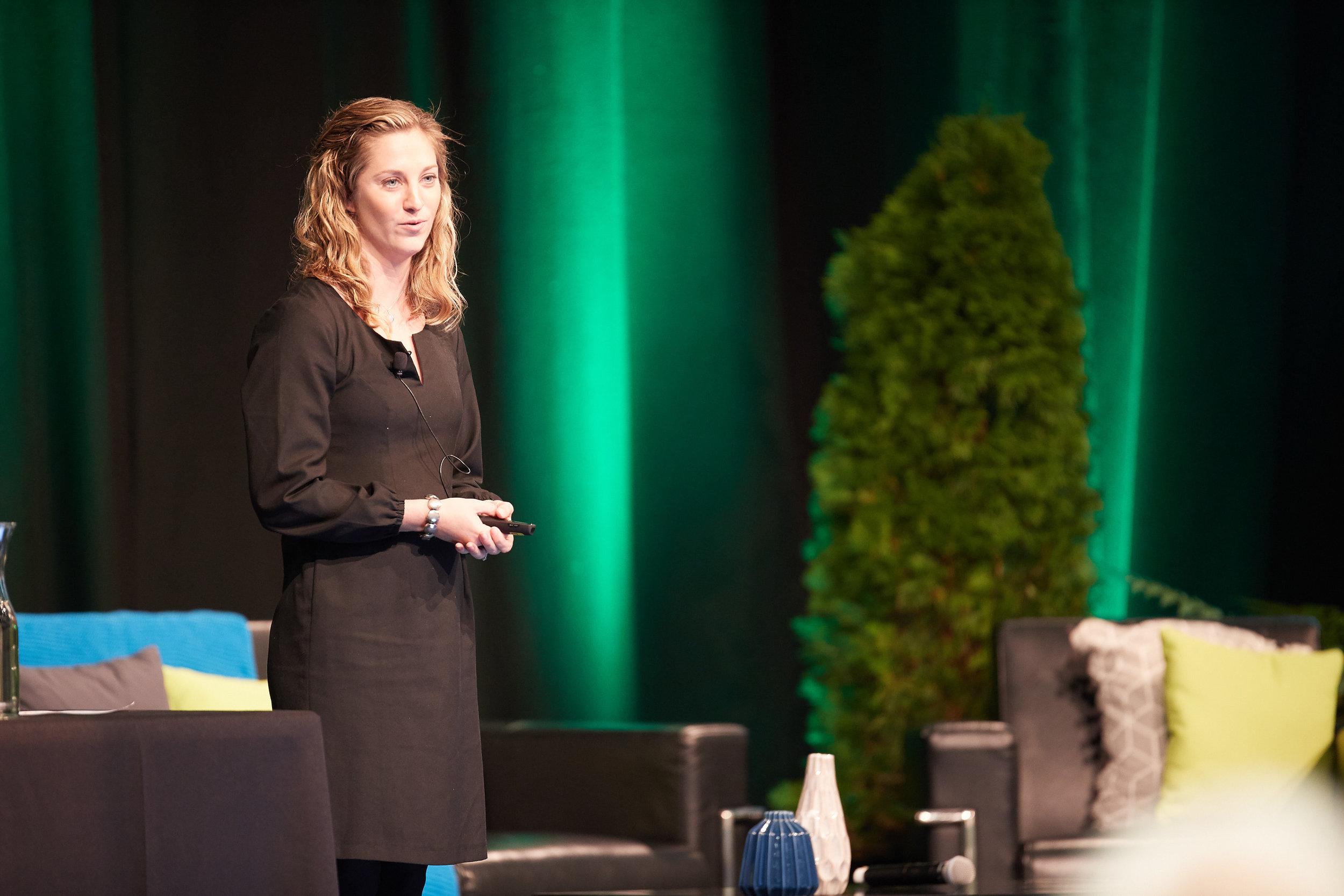 Keynote speaker presenting on stage