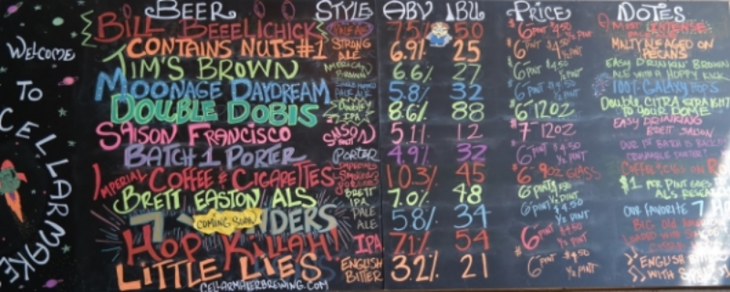The colorful, ever changing menu at Cellar Maker Brewery San Francisco