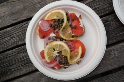 Smoked salmon, california capers, red onion and meyer lemons on San Francisco sourdough!
