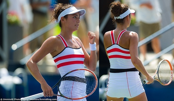 French player, Alize Lim, represents Parisian style well with styles from clothing sponsor  Le Coq Sportif.  I have to say I think this look was absolute favorite.