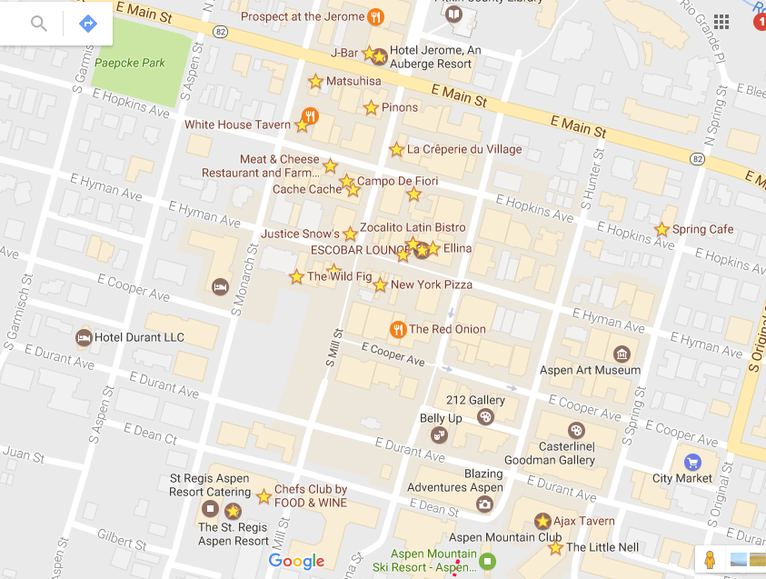 My Aspen saves and faves from google maps. Next travel post will have Google's new feature where I can actually share my map favorites!