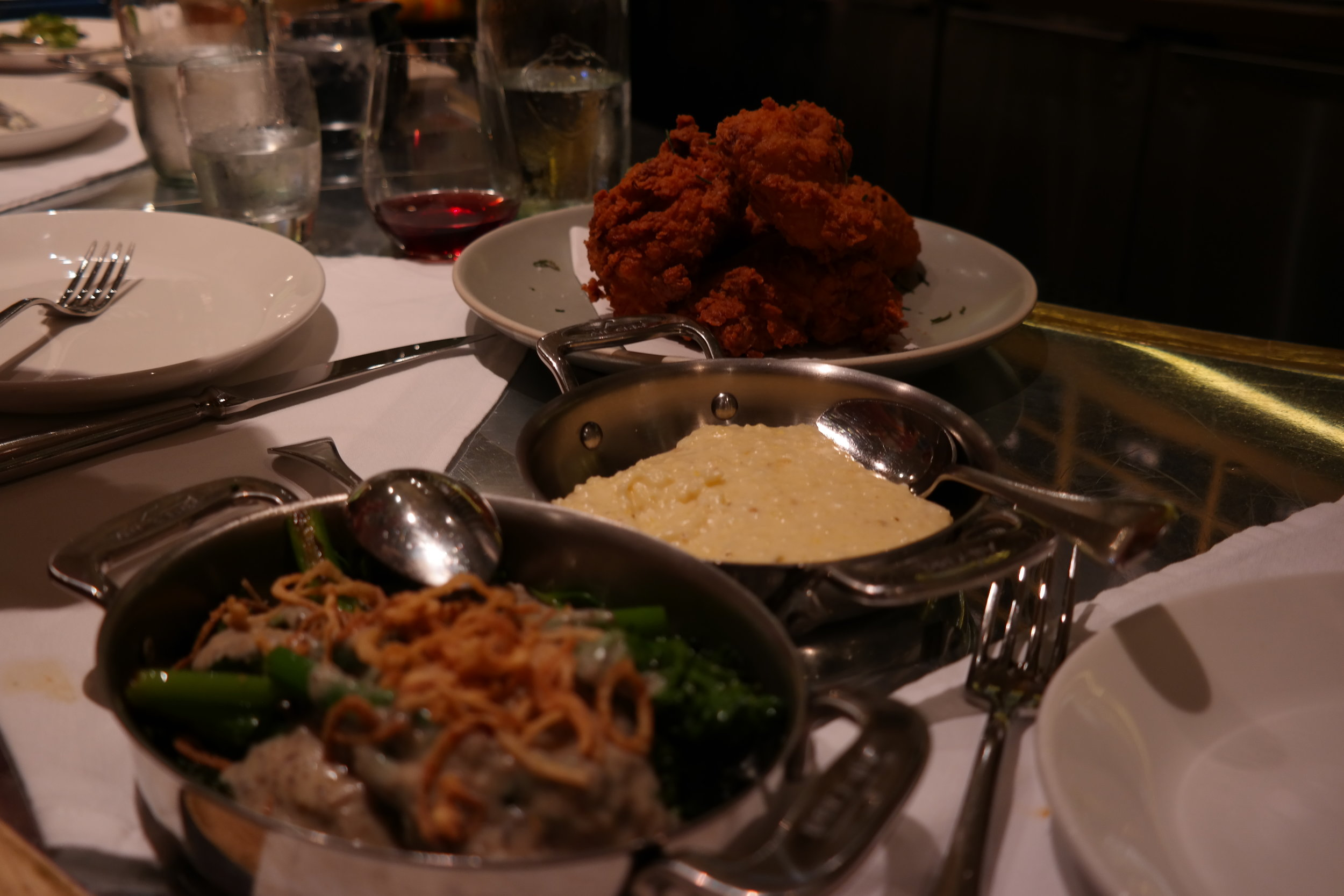 Buttermilk fried Chicken with cheddar grits and green bean casserole