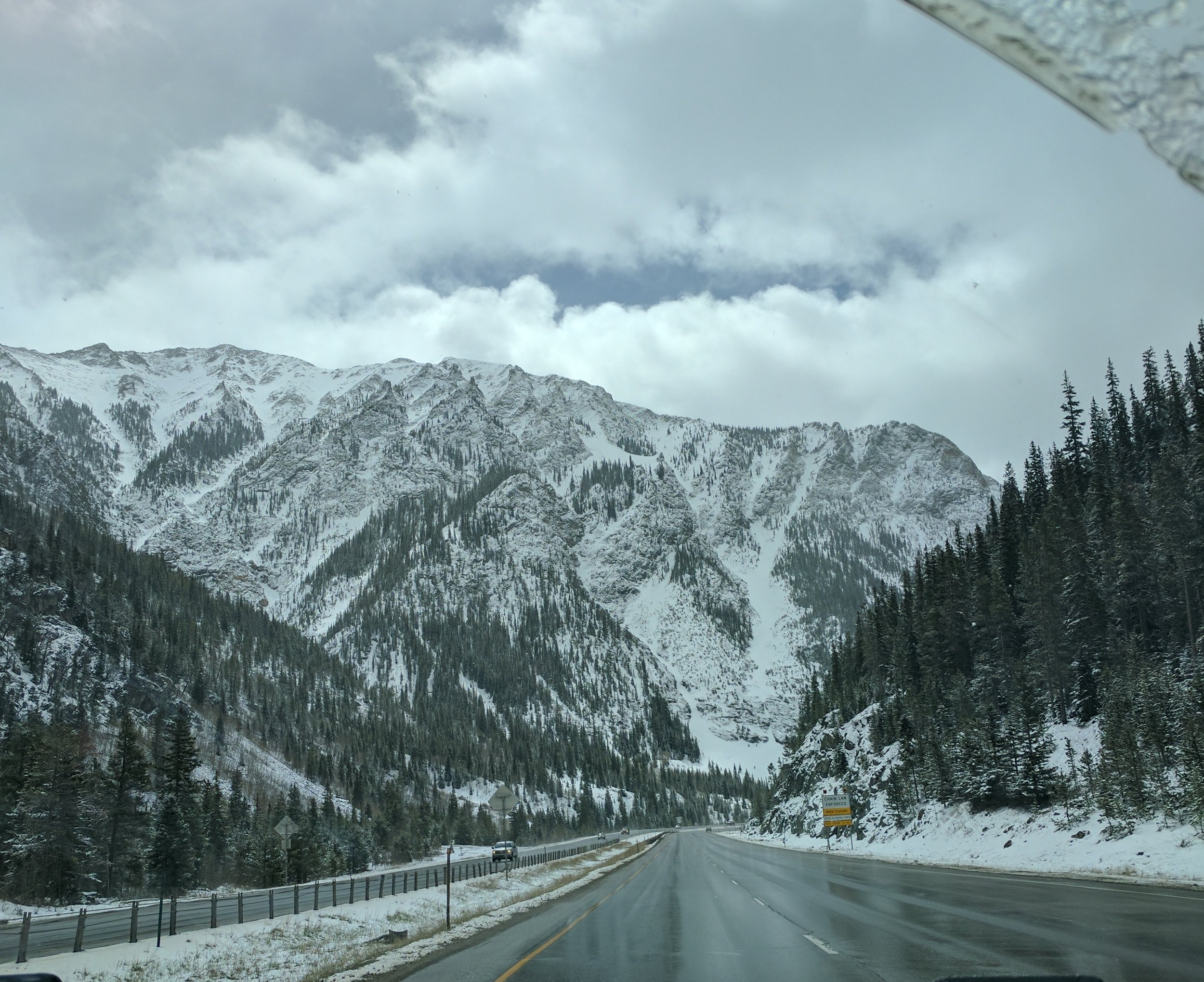 The mountain drive can be snow covered through the spring