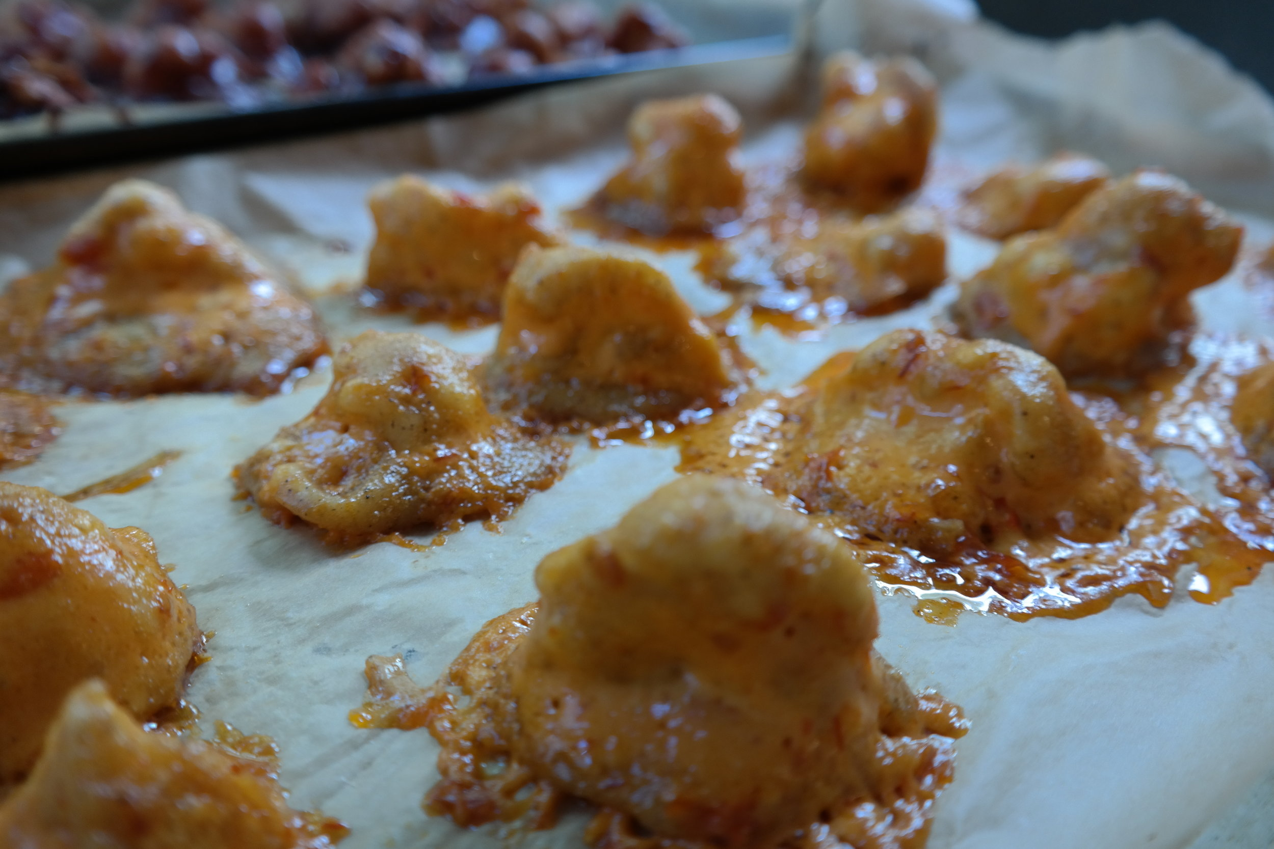 Cauliflower bites hot out of the oven