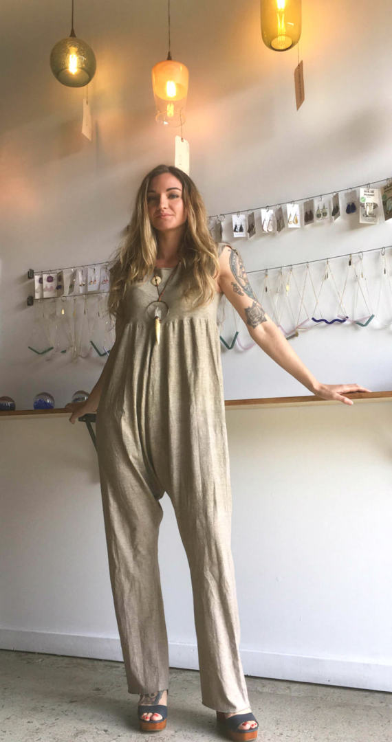 Grareful Threads - Leanna Echeverri is creating affordable, artistic, and most importantly sustainable. Leanna oversee all aspects of the clothing production from sourcing the organic fabrics to dying the fabrics with low impact plant derivative dyes. Check out her store on Etsy.