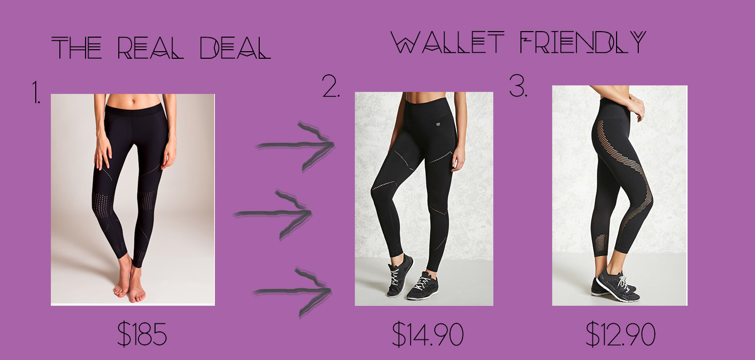 1. Ultra Pixelate Legging  $185 2. Forever Active Lasser Cut Seam Leggings  $14.90 3. Forever Active Seamless Capri Leggings  $12.90