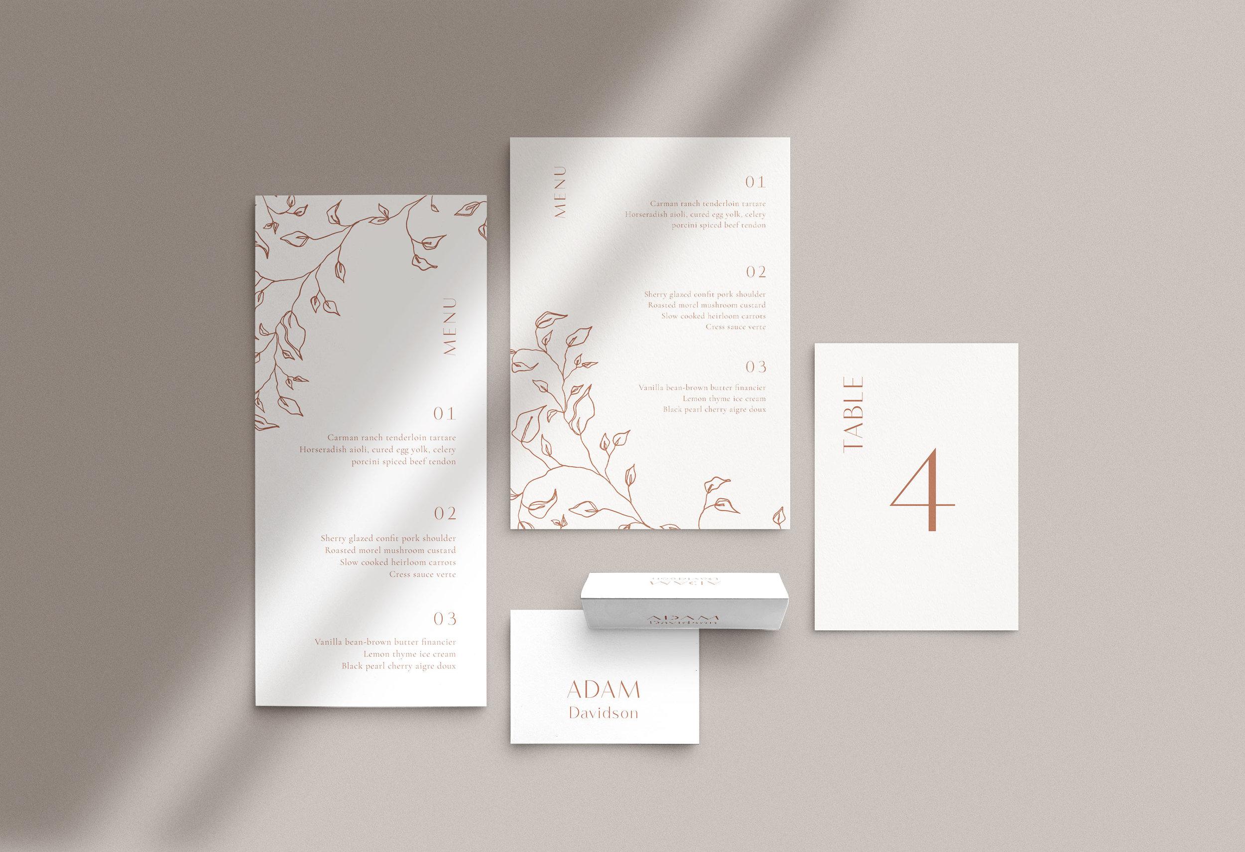 Carta Plena Menu and Place cards Joana