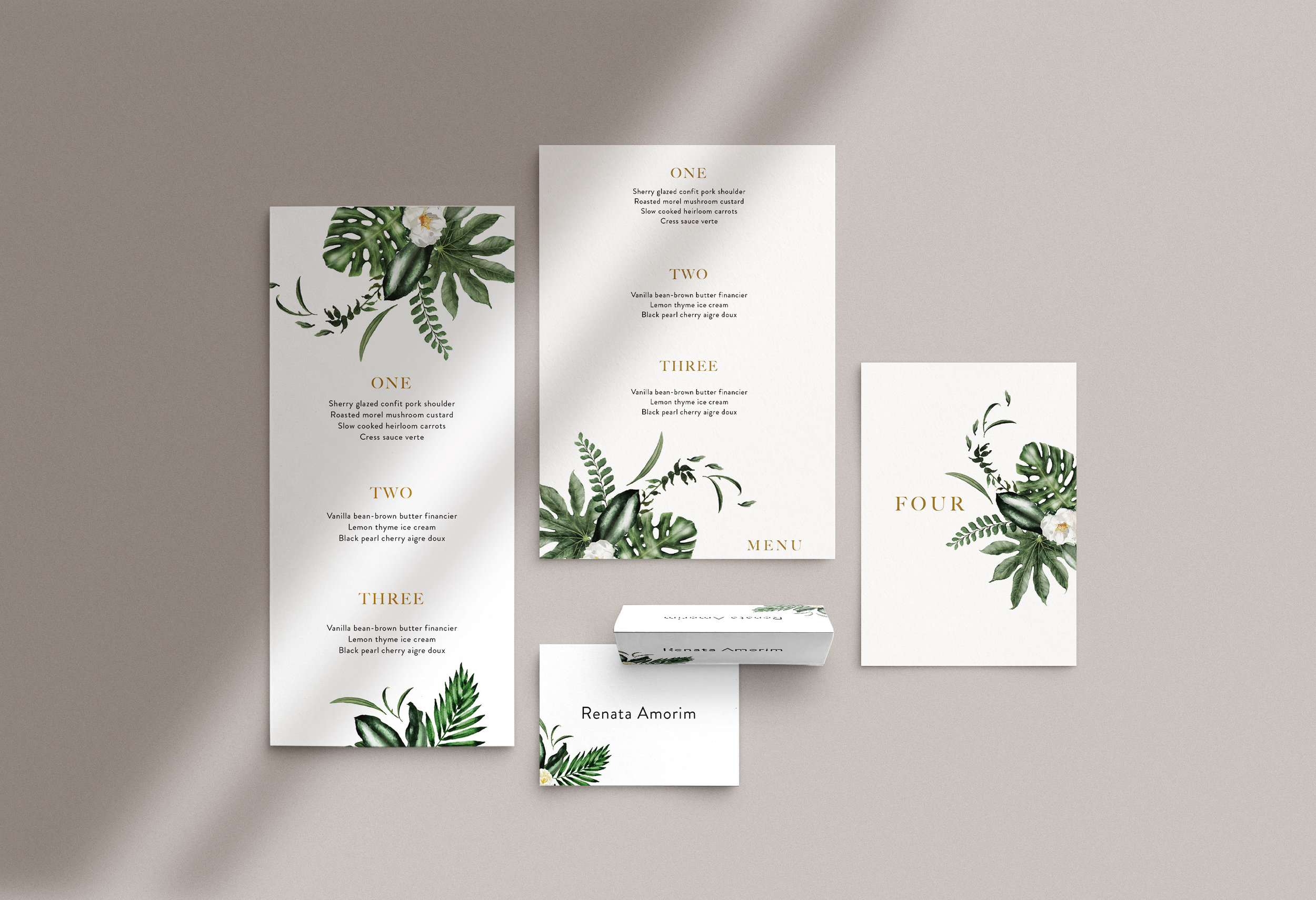Carta Plena Menu and Place cards Emily