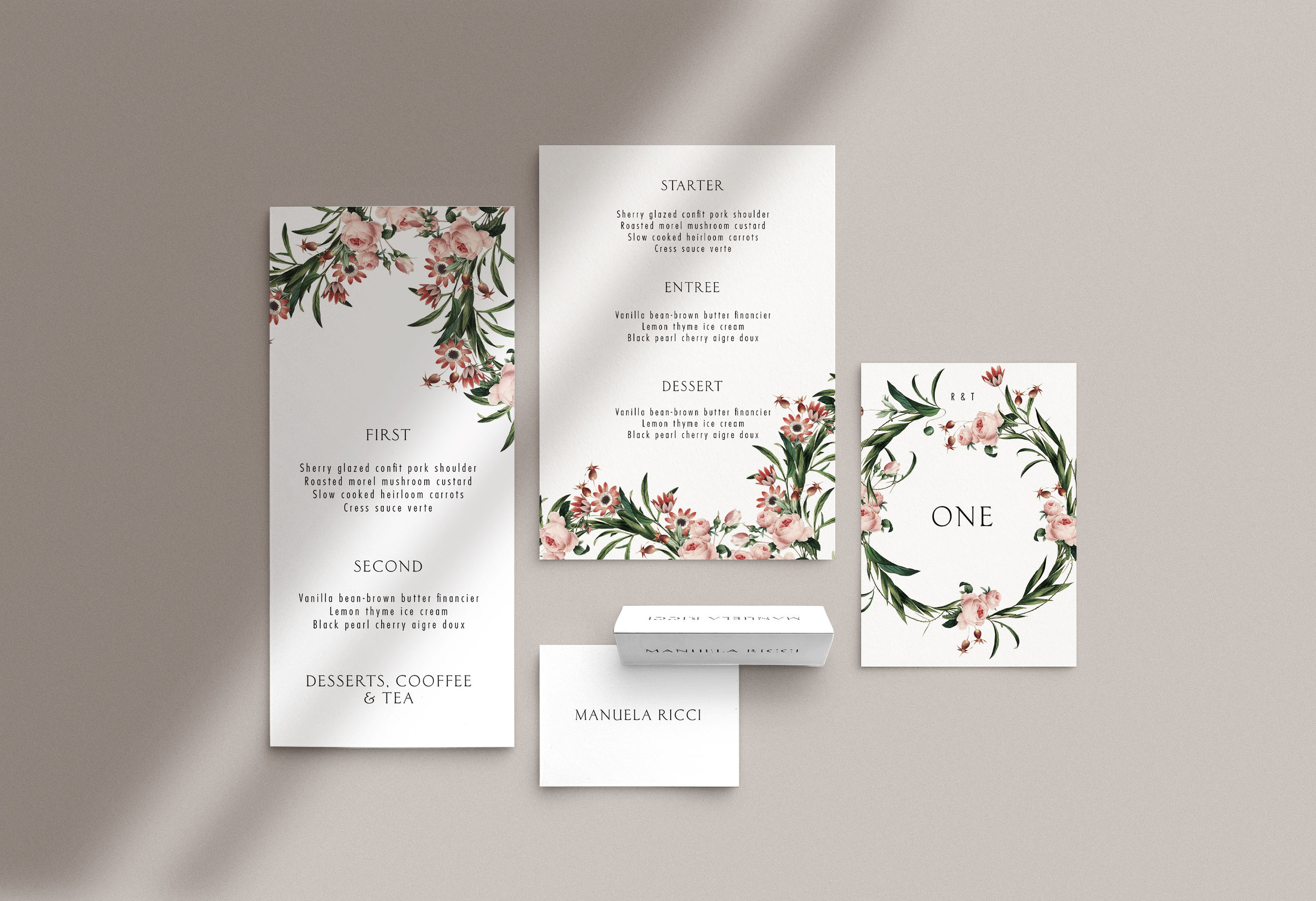 Carta Plena Menu and Place cards Rory