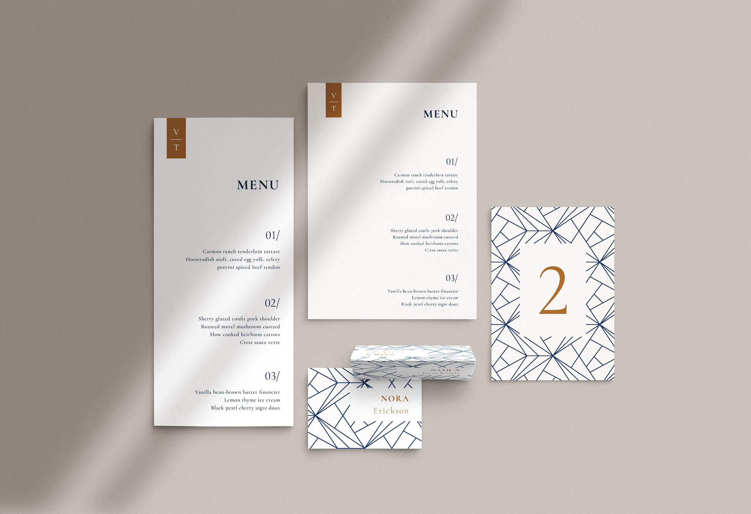 Carta Plena Menu and Place cards Victor