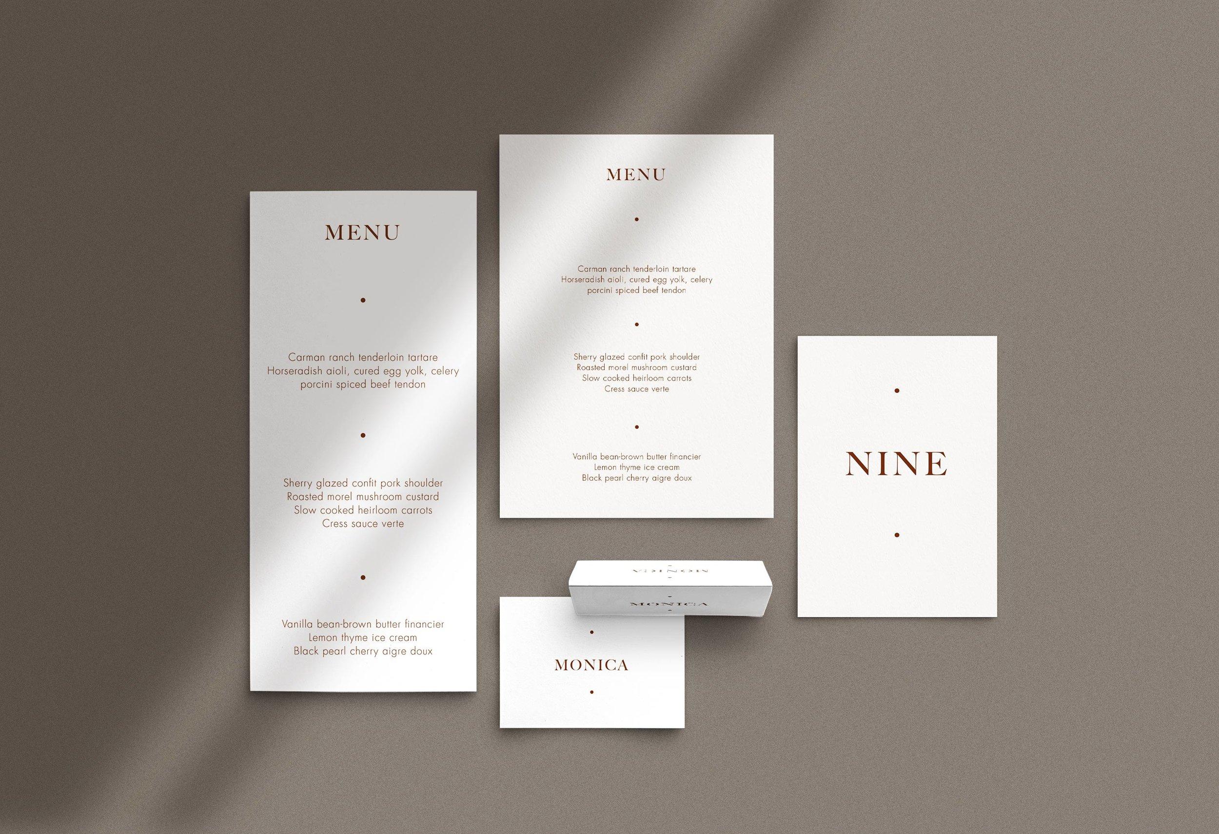 Carta Plena Menu and Place cards Olivia