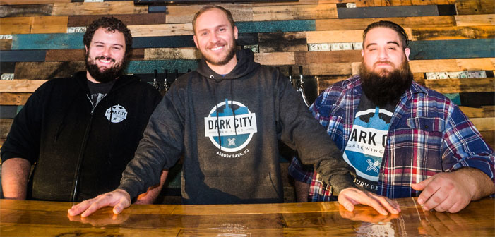 Left: Stephen Bohacik (head brewer), center: Kevin Sharpe (founder/president), right: Jaret Gelb (distribution)