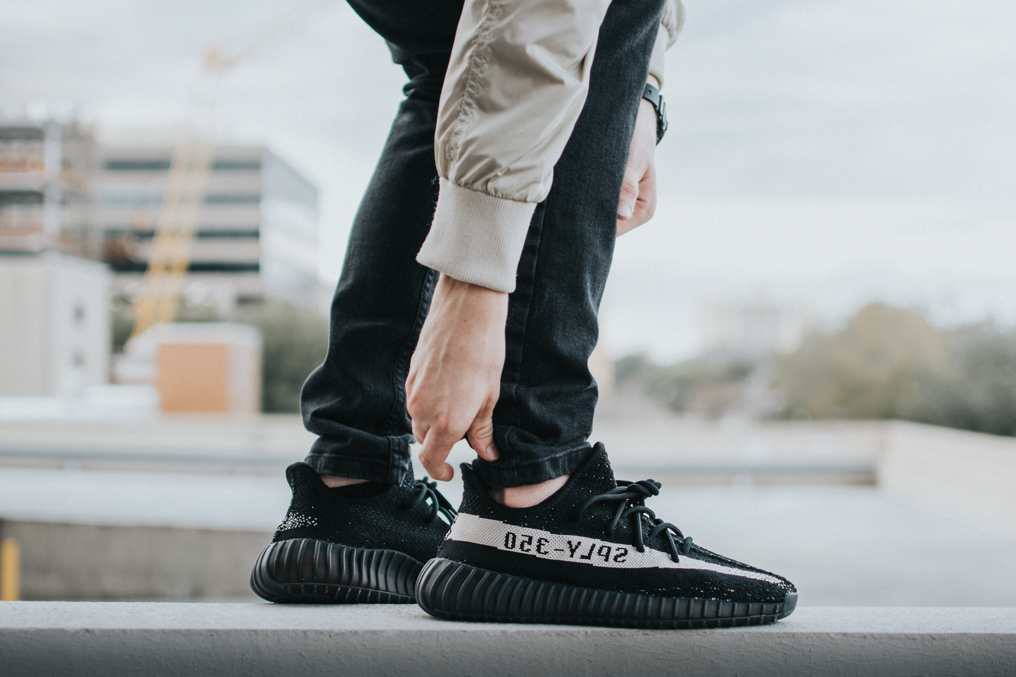 Black and off-white Yeezy Sply 350