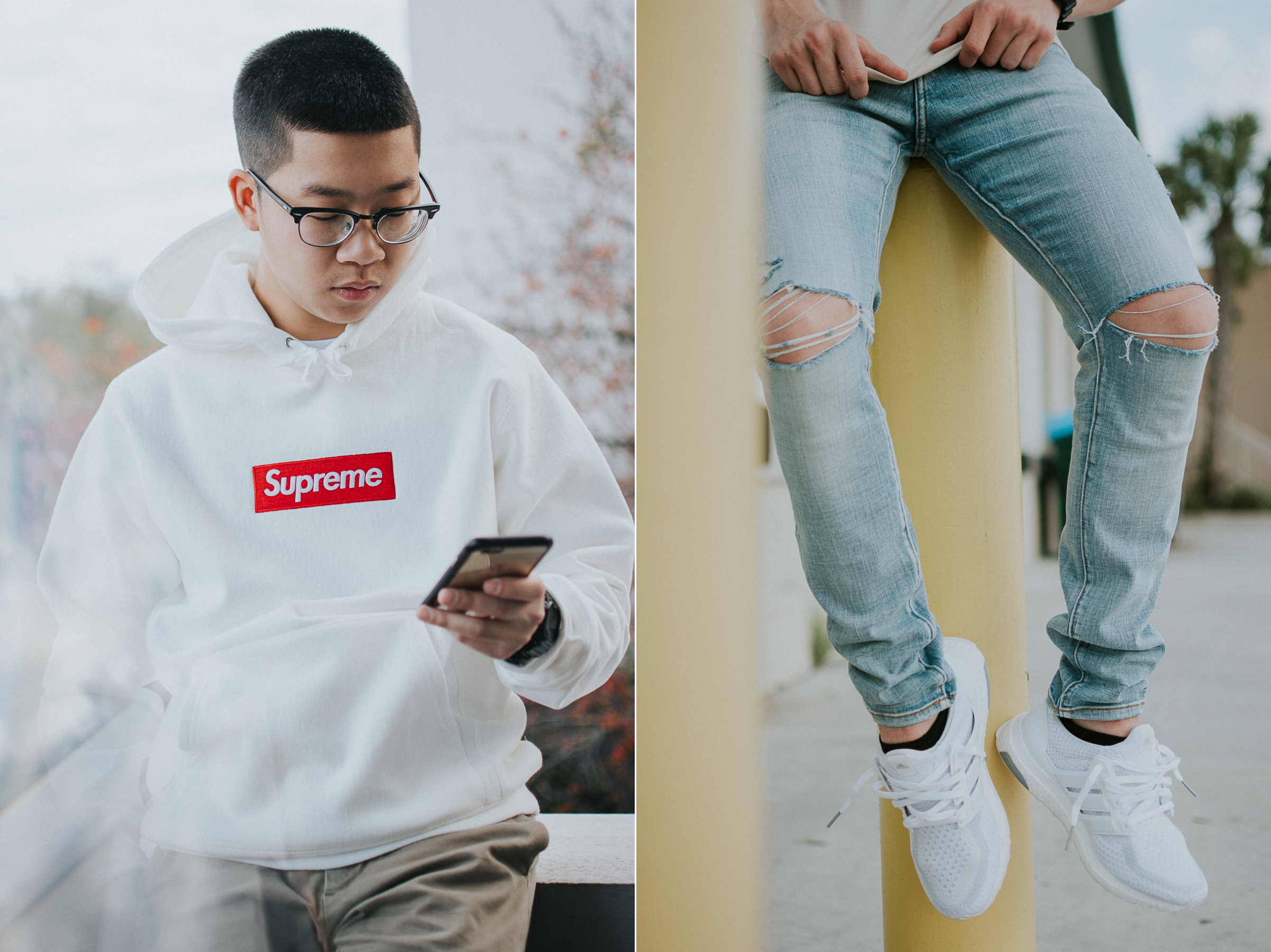 Supreme hoodie and all white Adidas Ultra Boosts