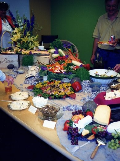 Corporate Event - Four Buffets throughout the warehouse office space