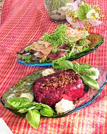 Sashimi Napoleon and Roasted Beet and Truffle Salad