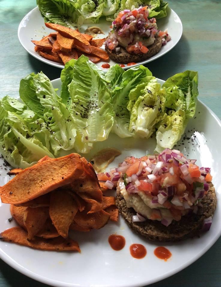 Veggie Burgers & sweet potato fries.jpg