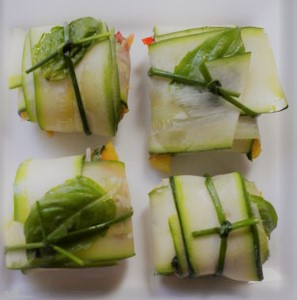 Zucchini sheets filled your favorite combination and woven into tight baskets then tied with a chive ribbon