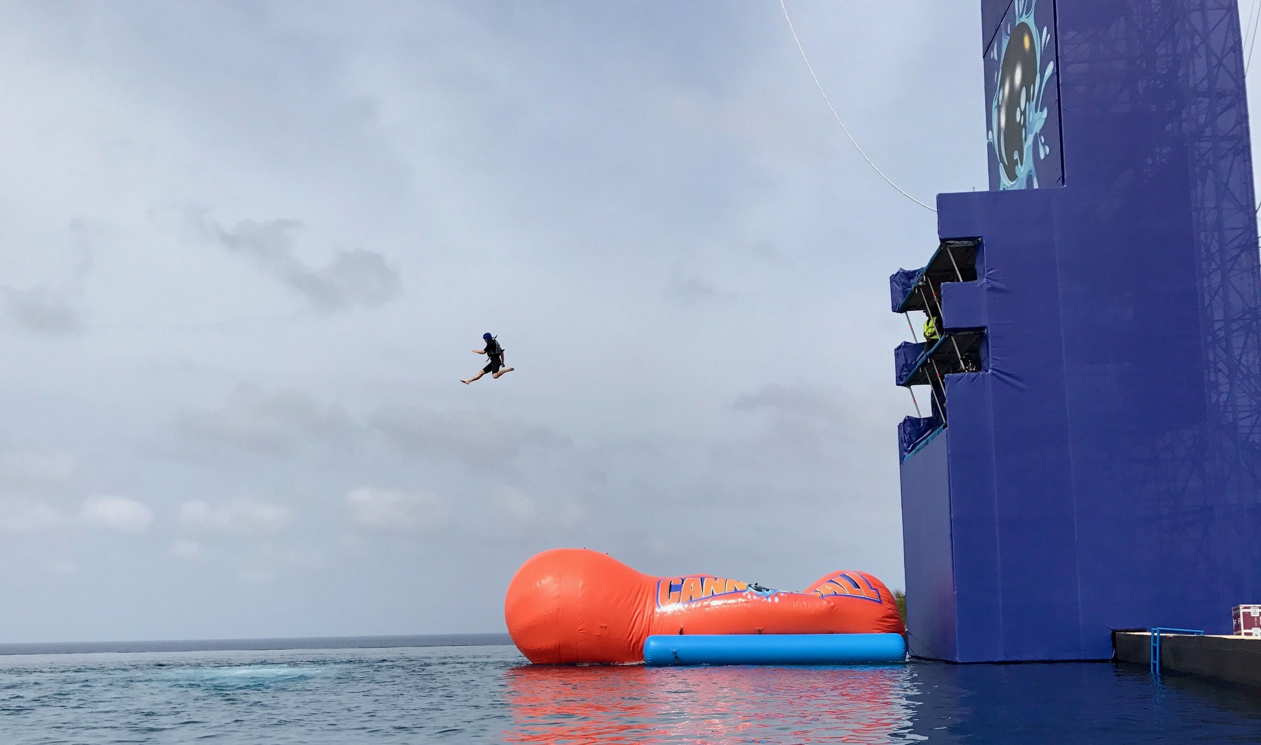 Double Decker platform to jump onto the Fat Boys Blob in Malta.  Notice that they also installed air bubbles to come up where the launched person lands to break the water surface up.  That's pretty clever!