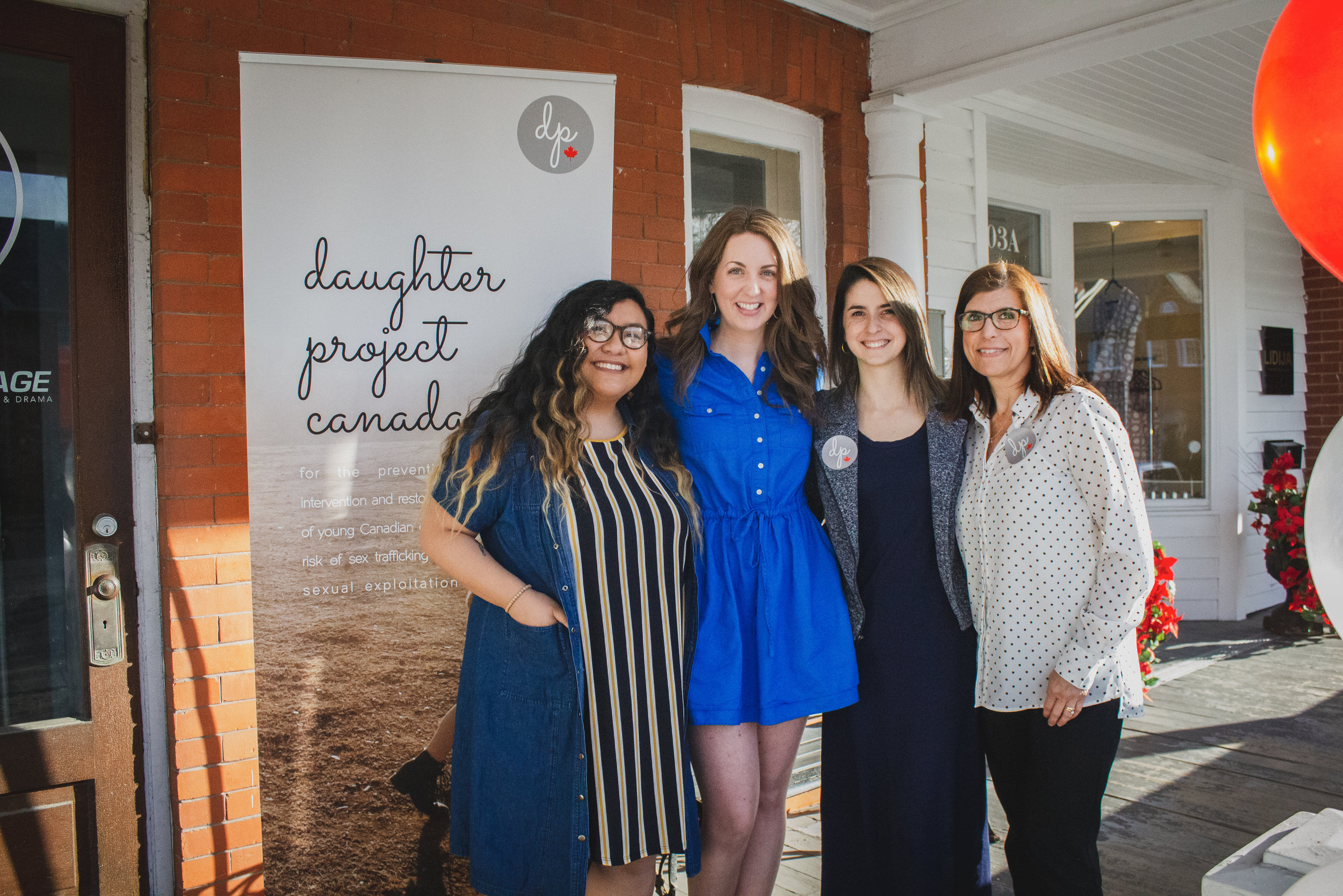 Daughter Project Fundraiser Team (left to right): Naomi Laserna, Kristin Szabo, Rebecca Laserna, & DPC Executive Director Cathy Tollefson