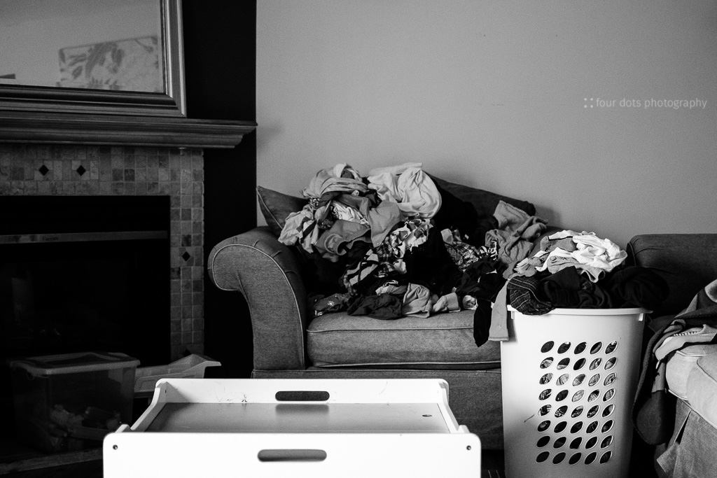 laundry on chair and in basket