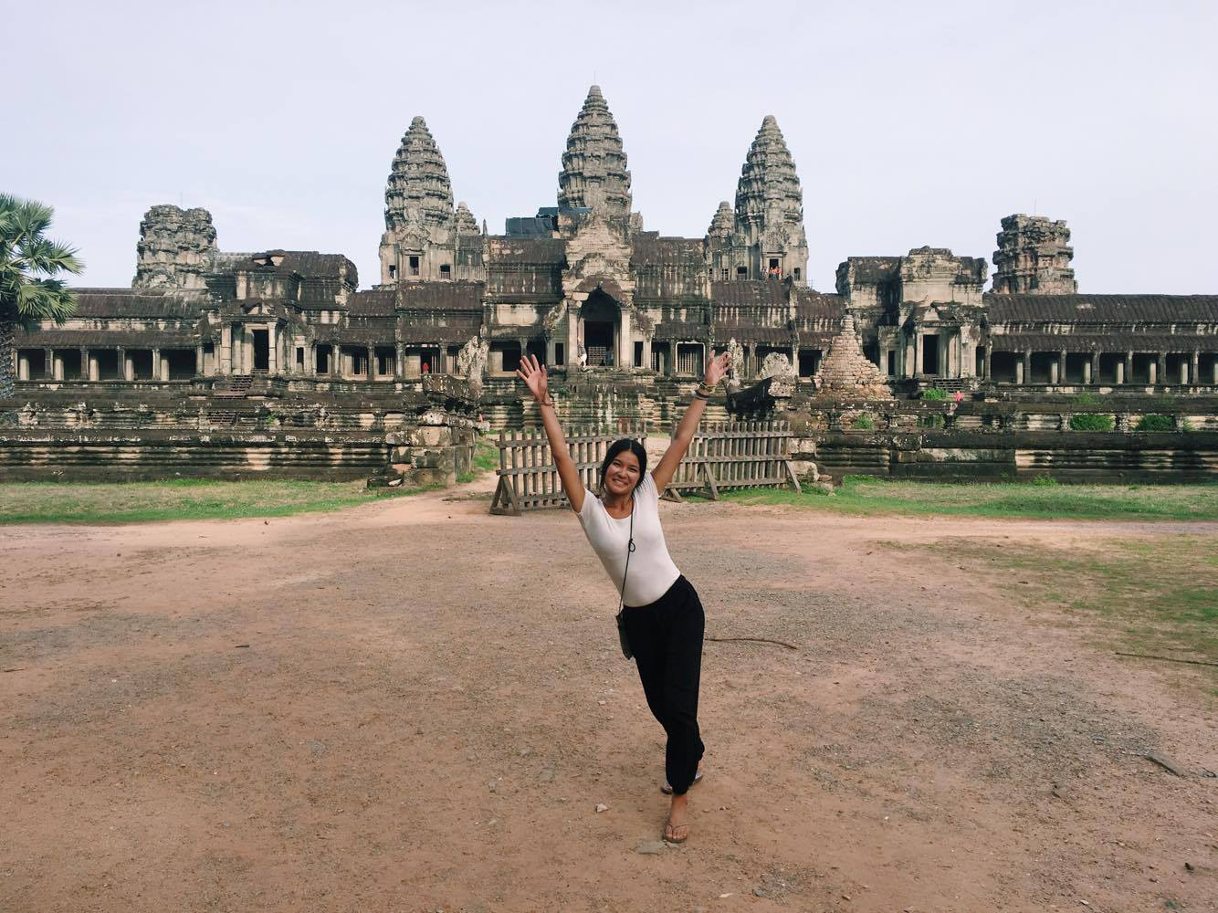 This is me solo backpacking in Cambodia in 2016. I found a secret less-crowded spot on the back of of Angkor Wat, which is the largest religious monument in the world.