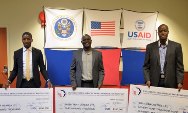 Kampala, Uganda - USADF Off-Grid Challenge Winners left to right: OneLamp, Green Heat and GRS Commodities