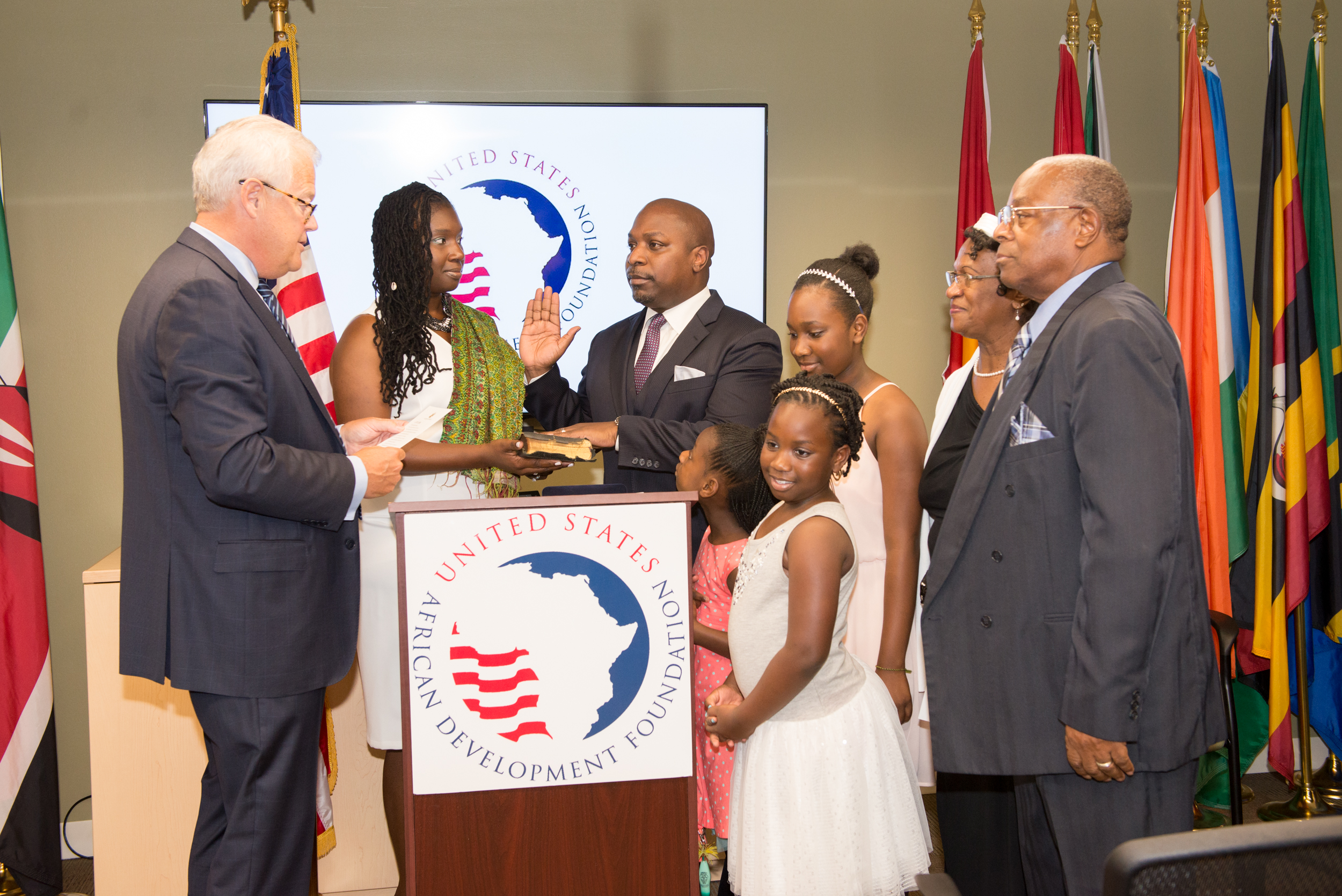 C.D. Glin being sworn in as 9th President/CEO by USADF Chairman Jack Leslie